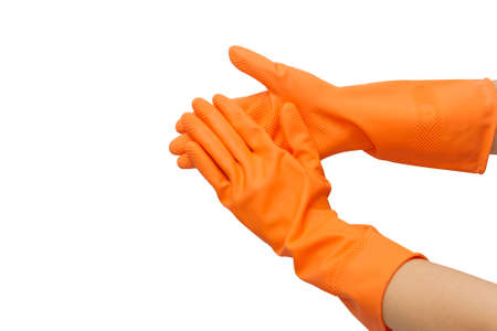 Two hand with orange glove  on white background Stock Photo - 17473414