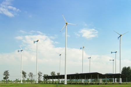 Many wind turbine generating electricity on blue sky Stock Photo - 17964545