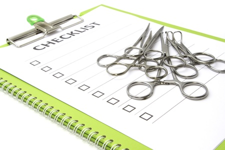 medical equipment: medical equipment on check list chart on isolate Stock Photo