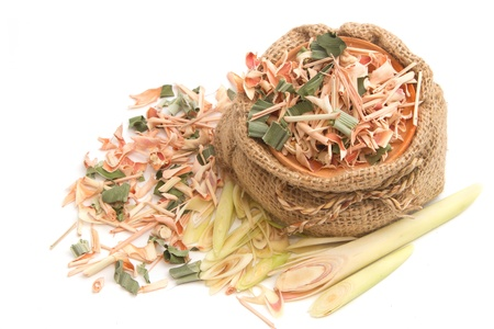 Dried and fresh lemon grass in jar pot photo