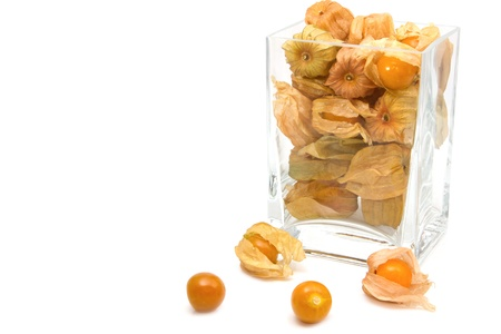 cape gooseberry: Cape gooseberry (Physalis) in the glass box,healthy fruit and vegetable Stock Photo