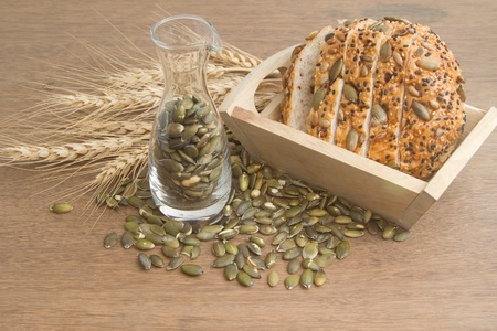 whole wheat bread with  pumpkin seed photo