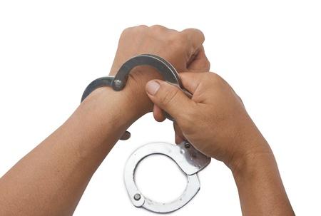 cuffs: mans hand lock hand cuffs