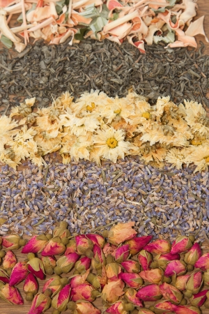 Assortment of dried tea in wooden background photo