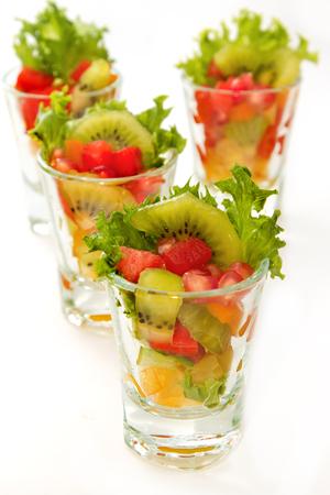 Fresh fruit salad in glasses