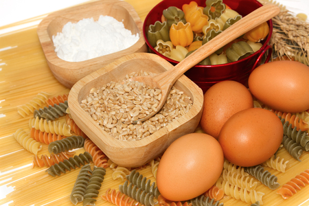 Grains of Wheat with pasta and food ingredient photo