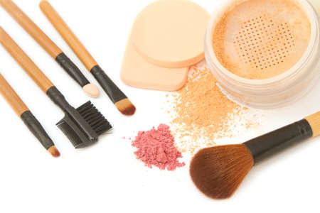 Make-up brush set and facial  powder isolated photo
