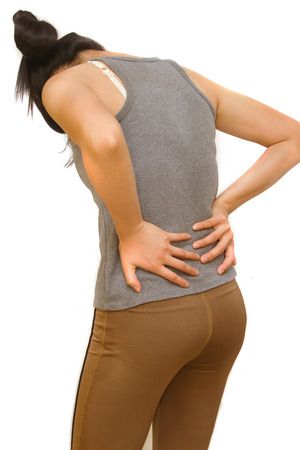 neurosis: Attractive female person suffers from backache