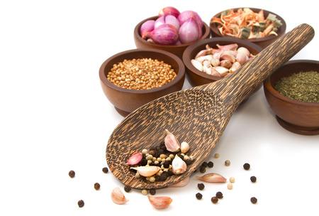 Thai seasoning ,dried herbs and spices ( garlic, shallot, coriander, dried lemon grass, cinnamon basil and pepper )