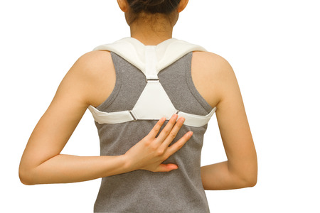 clavicle: woman wearing clavicle brace for immobilize shoulder Stock Photo