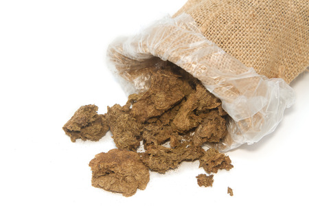dry cow: Dry cow dung in bag, Dry  manure Stock Photo