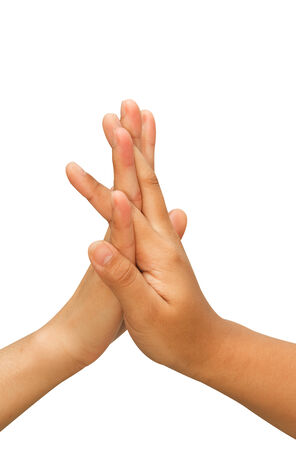 two hands making hi-five gesture photo
