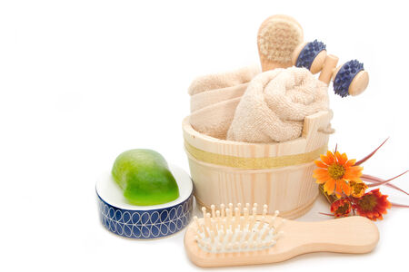 Wooden bucket with SPA and sauna accessories,Bathroom cleaning set
