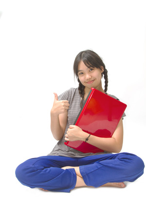 asian girl with computer photo