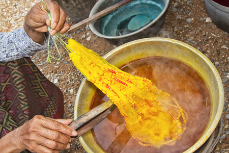 Dyeing silk  Using traditional natural materials photo