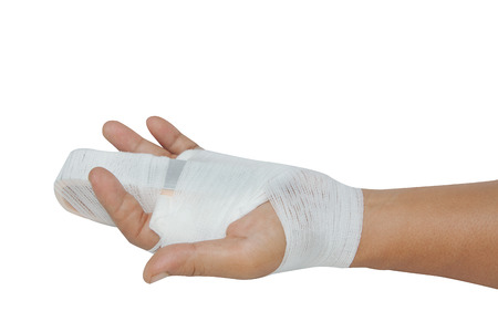 immobilize: Hand injury ,hand with a splint on the middle finger