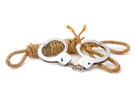cuffs: manila rope with hand cuffs