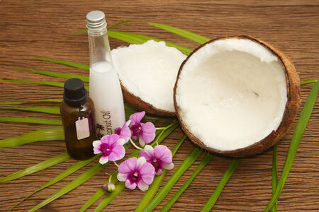 Coconut essentail oil for alternative therapy and beauty spa photo