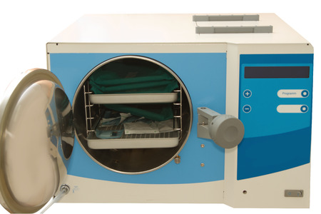 germ free: Medical autoclave for sterilising surgical and other instruments Stock Photo