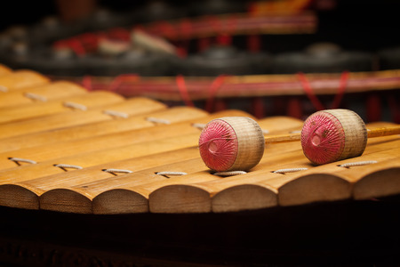 tuneful: Wooden soprano xylophone, the Thai music instrument ( select focus at drumstick )
