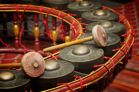 thai musical instrument: Thai musical instrument ,Gong Instrument for rhythm( select focus at drumstick )