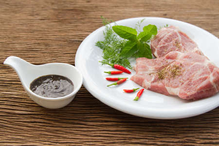 belly pepper: Raw pork  and black pepper sauce Stock Photo