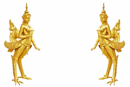 Thai art Kinnaree statue : The mythical half bird half woman photo