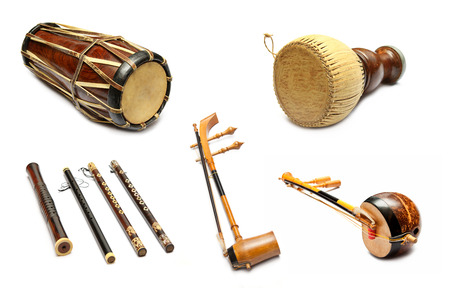 Set van traditionele Thaise muziekinstrumenten Stockfoto