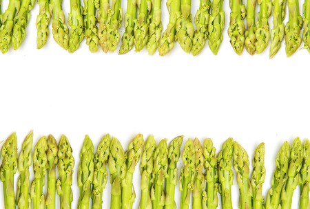 closedup: closed-up green asparagus on a white background