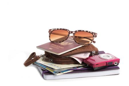 money pocket: Preparaci�n para el viaje, dinero de bolsillo, pasaporte, hoja de ruta, la c�mara y gafas de sol en aislante