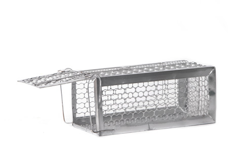 Mousetrap (rat cage) isolated on white background photo