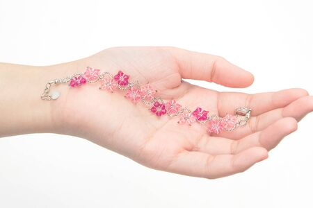 carbuncle: Beautiful crystal Bracelet on woman hand