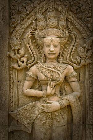 stone carvings: Apsara sculptures at Angkor Wat,detail of stone carvings