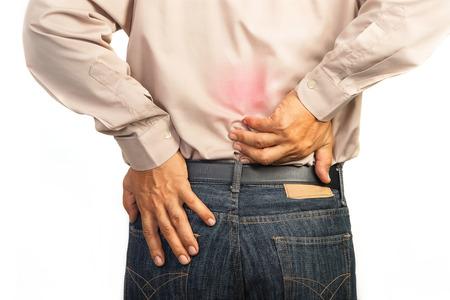 zakenman met pijn in de onderrug, Office syndroom begrip