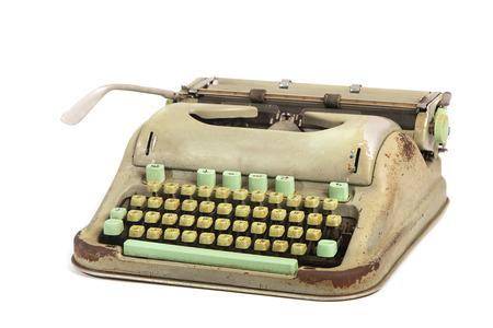 nota de papel: Aislado máquina de escribir verde oliva