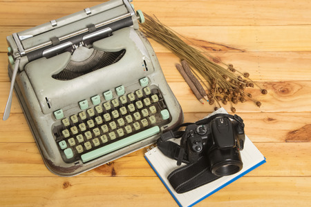 secretarial: vintage typewriter and camera Stock Photo