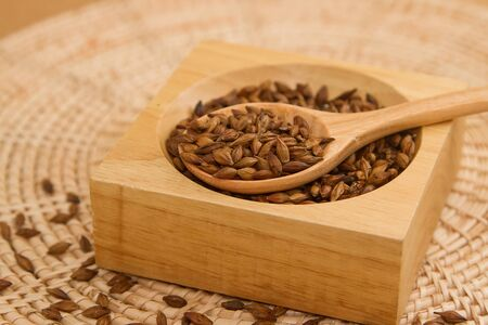 caffeine free: Closeup Barley tea in the wooden spoon Stock Photo