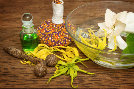 Aroma oil and thai flower with spa accessories ,Thai spa concept photo