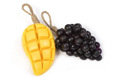 natural soap: Grape and mango glycerin natural soap Stock Photo