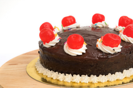cheery: Chocolate cake with red cheery Stock Photo