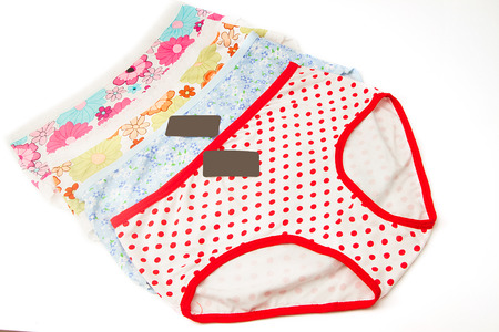 cotton panties: Colorful women cotton panties on white background Foto de archivo