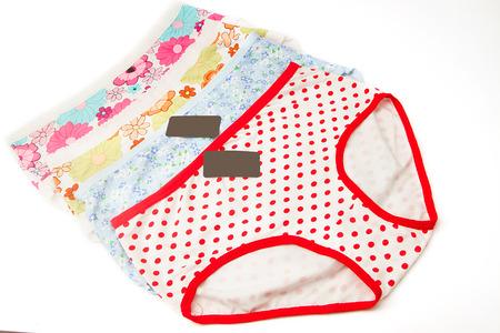 cotton panties: Colorful women cotton panties on white background Stock Photo