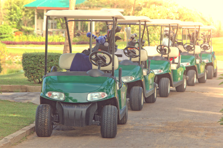 golf cart: Golf carts on a golf course Stock Photo