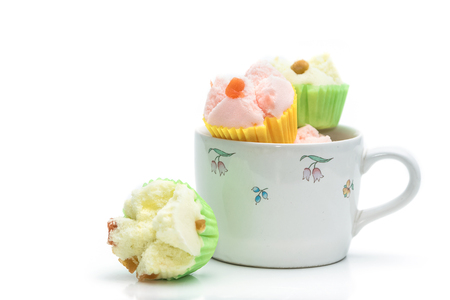 thai dessert: Thai dessert, thai steamed cup cake or cotton cake in cup Stock Photo