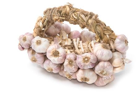 garlic: Bundle of garlic isolated on white backgrond Stock Photo