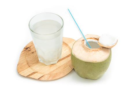 Fresh coconut drink with young coconut on white background Standard-Bild