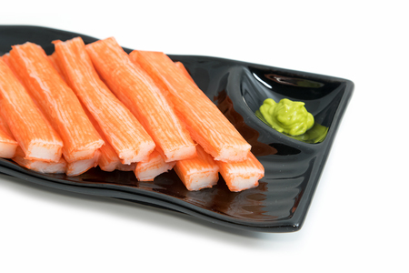 tast: Imitation Crab Stick  in plate on white background
