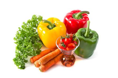kleurrijke verse groenten, fruit en groenten voor gezond Stockfoto
