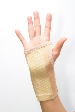 carpal tunnel syndrome: wrist with brace support ,sport injury