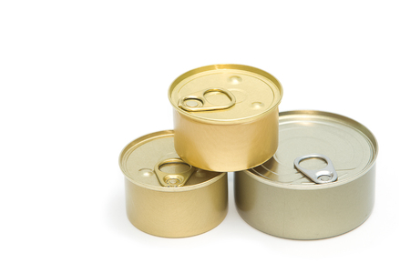 tinned goods: tin can with open key on white background